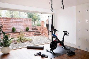 basement gym idea with bifold doors