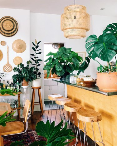 Bohemian kitchen island idea with woven pendant and plants