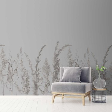 gray wallpaper and gray chair