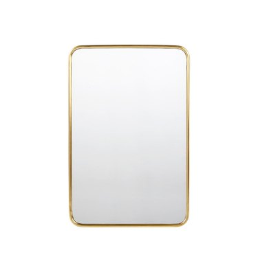 Rounded rectangular wall mirror with brass frame