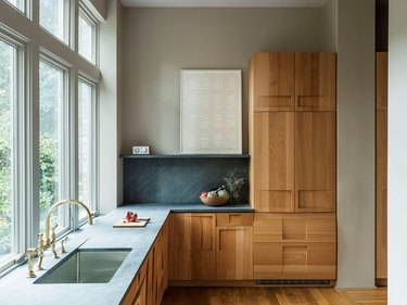wood kitchen countertops and wood flooring