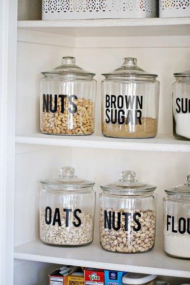 Kitchen pantry storage ideas with modern labels