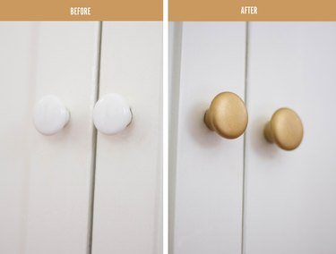 before and after showing white cabinet knobs before and brass cabinet knobs after