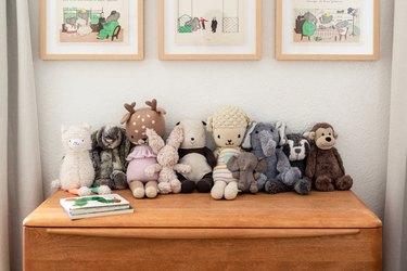 Stuffed animal toys on dresser