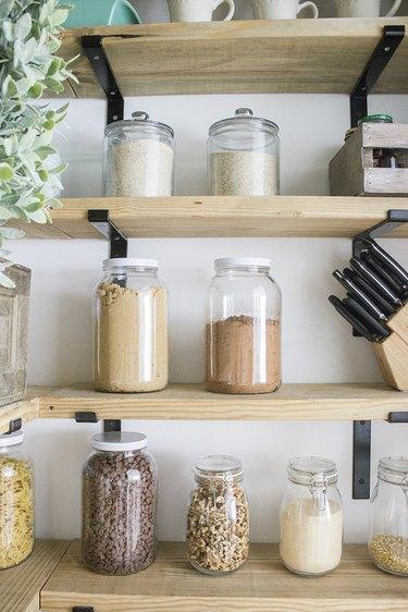 Clear jar kitchen pantry storage ideas