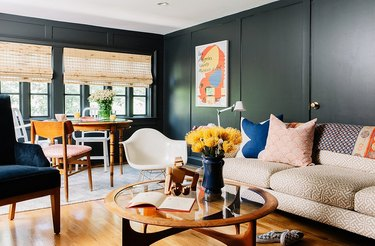 midcentury living room with black walls