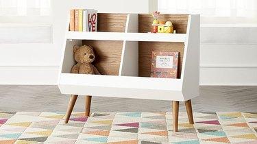 White and walnut bookcase