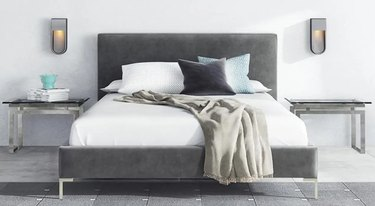 mattress on gray bed frame