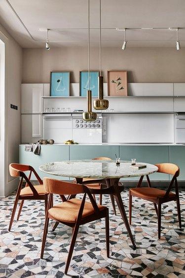 Italian kitchen with modern kitchen lighting