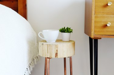 Copper pipe and wood side table