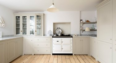 Greige colored kitchen cabinets