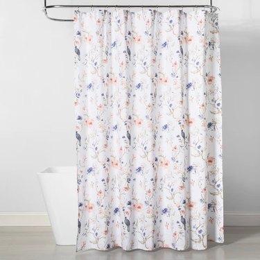 floral and bird print bathroom shower curtain idea