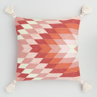 outdoor throw pillow with a geometric design