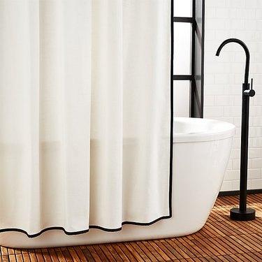 cb2 black and white bathroom shower curtain idea