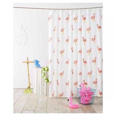flamingo print bathroom shower curtain idea