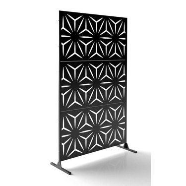 free-standing black privacy scren with modern star laser cut-outs