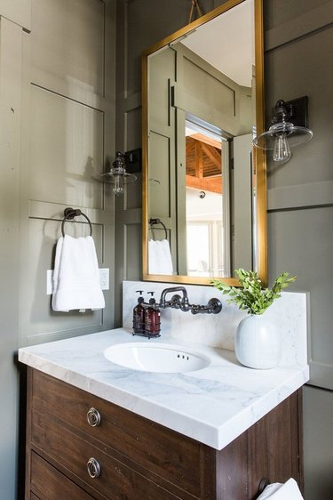 attic bathroom ideas with olive green walls