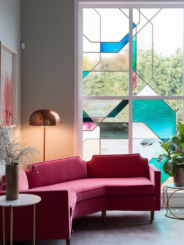 art deco stained glass window with abstract pattern