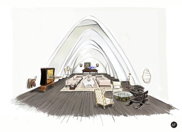 lofted living room