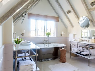 attic bathroom ideas with double sinks