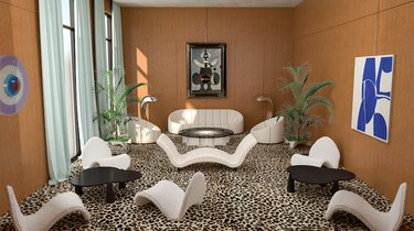 living room with leopard print rug