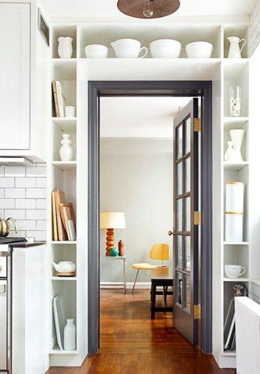 built-in storage over door in kitchen