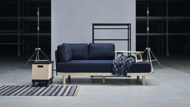 space with sofa and cart