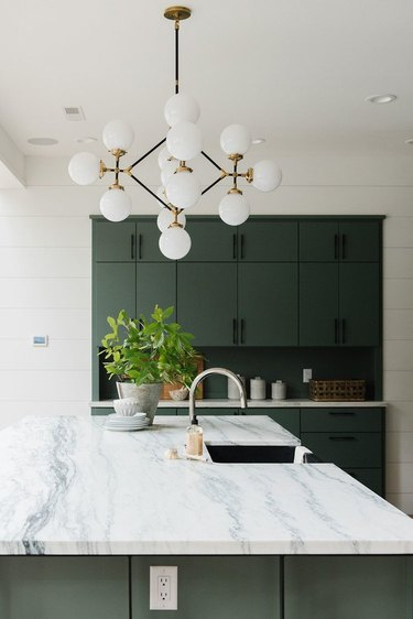 small kitchen decorating ideas with green cabinets and marble countertops