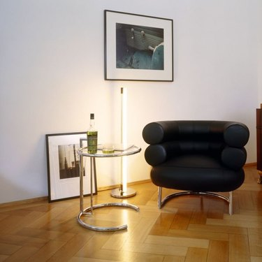 side table, lamp, and chair