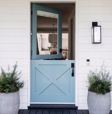 robin's egg blue exterior Dutch door with single paned window