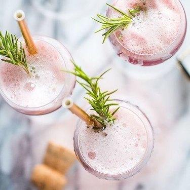 Rosé Rasberry Sorbet Mimosas by Fox and Briar