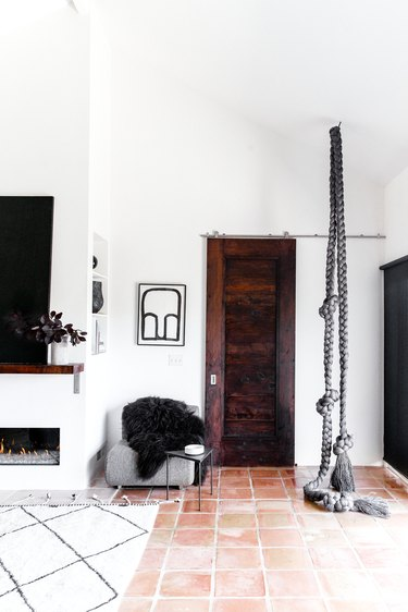 Rope sculpture in room