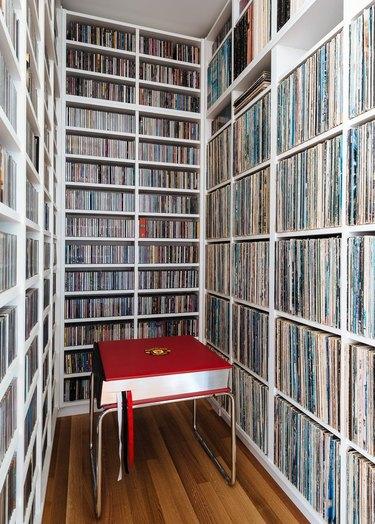 extensive vinyl record library