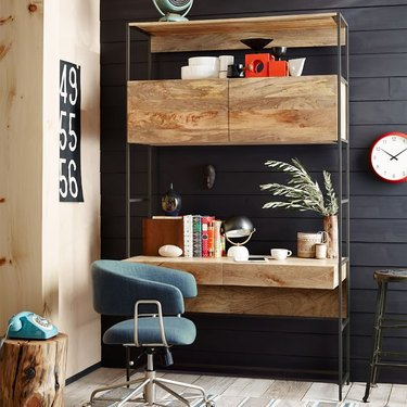 industrial office idea with wood and steel modular desk