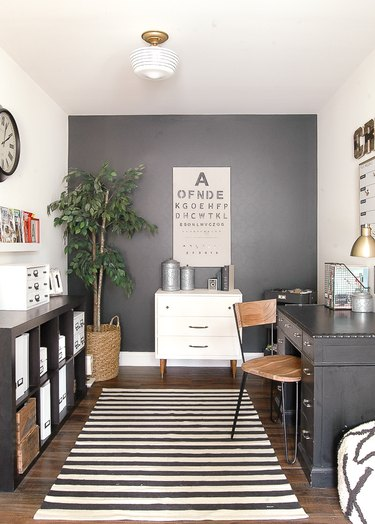 industrial office idea with black and white striped rug