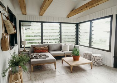 Three-season-porch before and after with white paint and light wood furniture