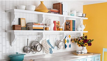 Open kitchen shelving.