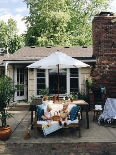 Patio before and after with pergola