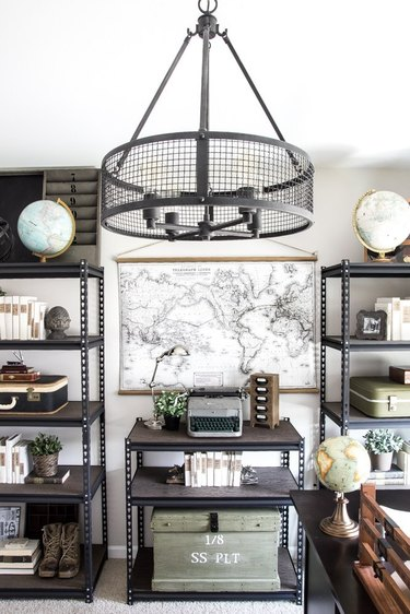 industrial office idea with hanging wall map