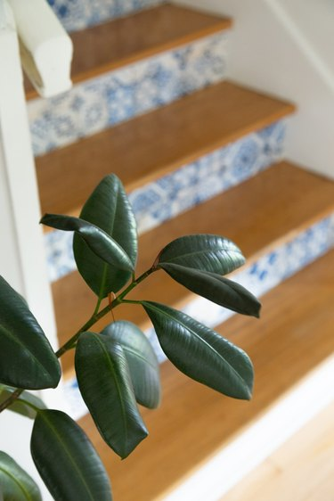 Removable wallpaper stair risers