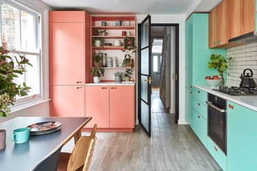 Pink and aqua complementary colors in contemporary kitchen