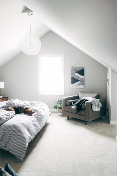 white finished attic idea for bedroom