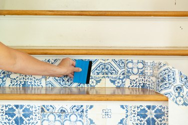 steps for removable wallpaper stair risers