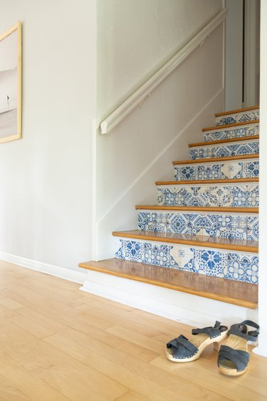 DIY Patterned Stair Risers with removable wallpaper