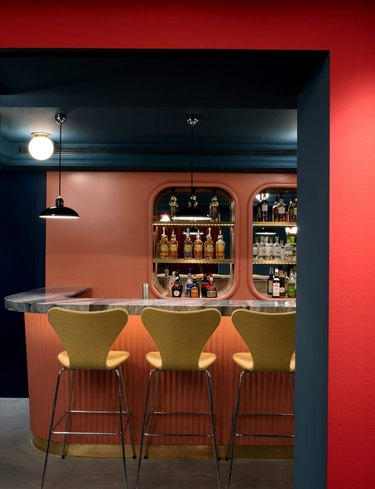 painted basement ceiling with full bar