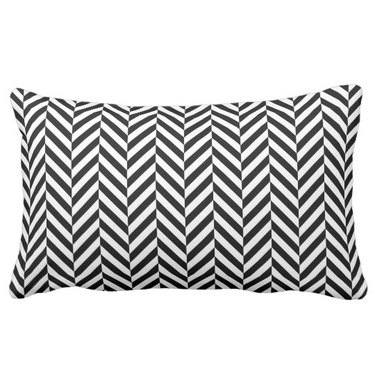 Black and white herringbone lumbar pillow