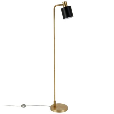 Brass L-shaped floor lamp with small black shade