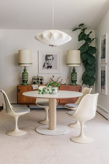 Wood accents elevate this plain white IKEA table.