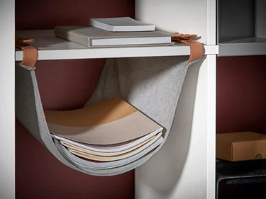 hanging organizer in bookshelf