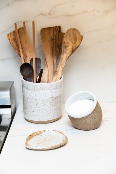 Ceramic saltcellar, utensil holder, and spoon rest